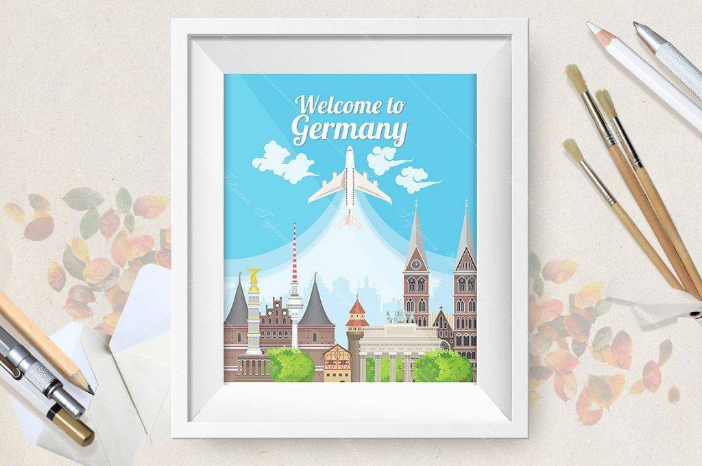 welcome to germany travel poster signage design example 1024x681