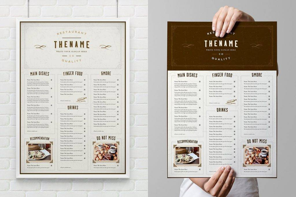 western inspired restaurant menu design example