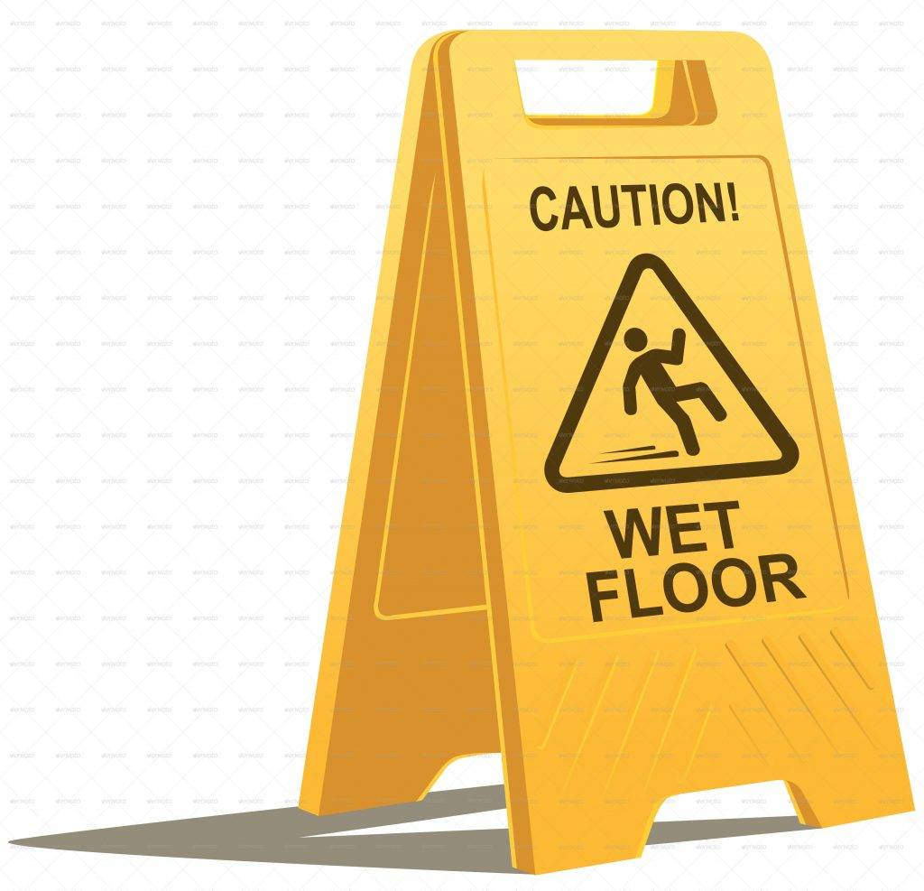 wet floor caution sign example