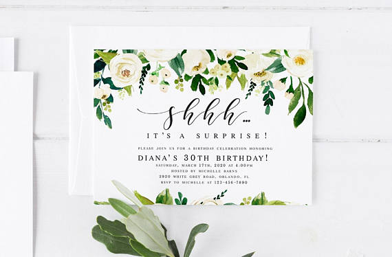 white floral surprise party invitation example