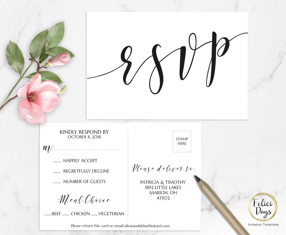 white wedding rsvp card template example