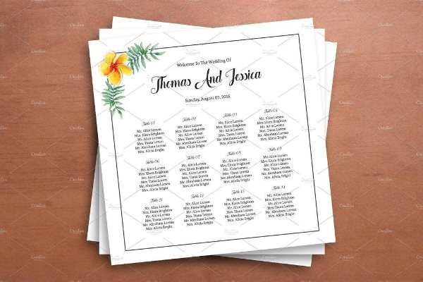white wedding seating chart template example1