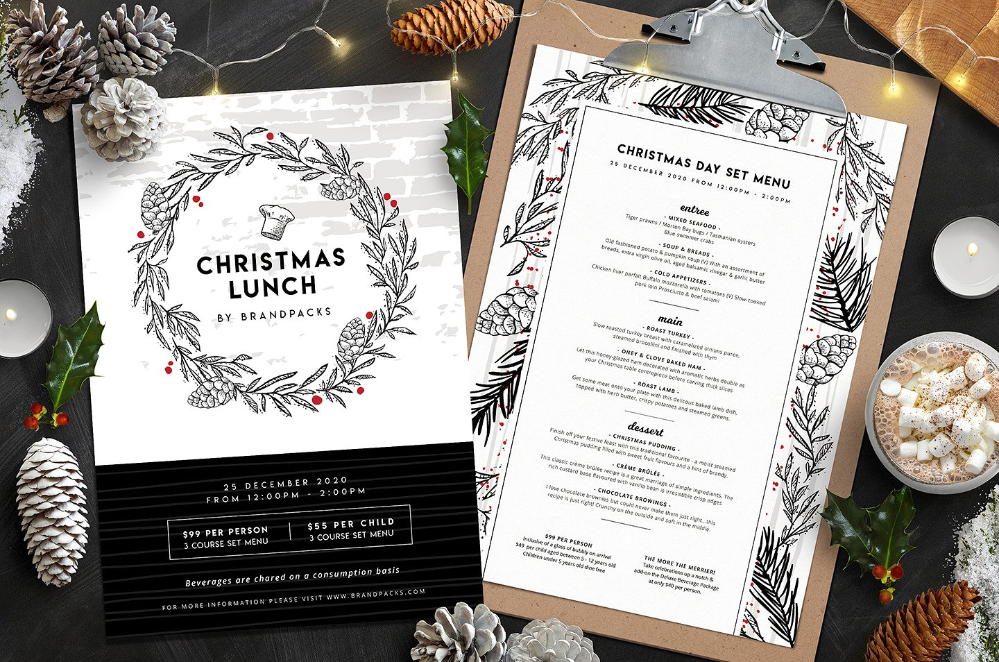 white and black christmas wreath menu example