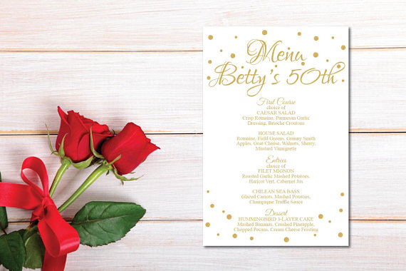 white and gold birthday menu example