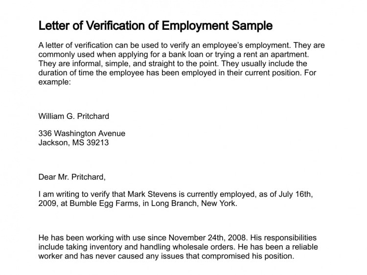 sample proof of employment letter