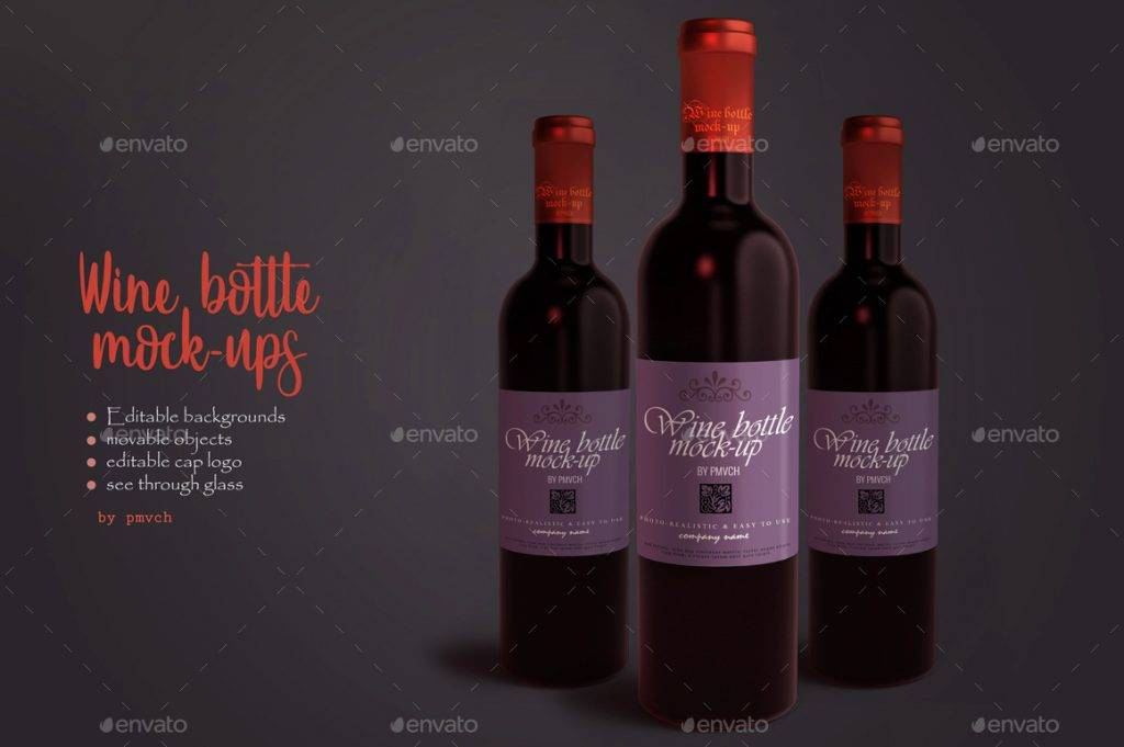 wine bottle or label mock up example