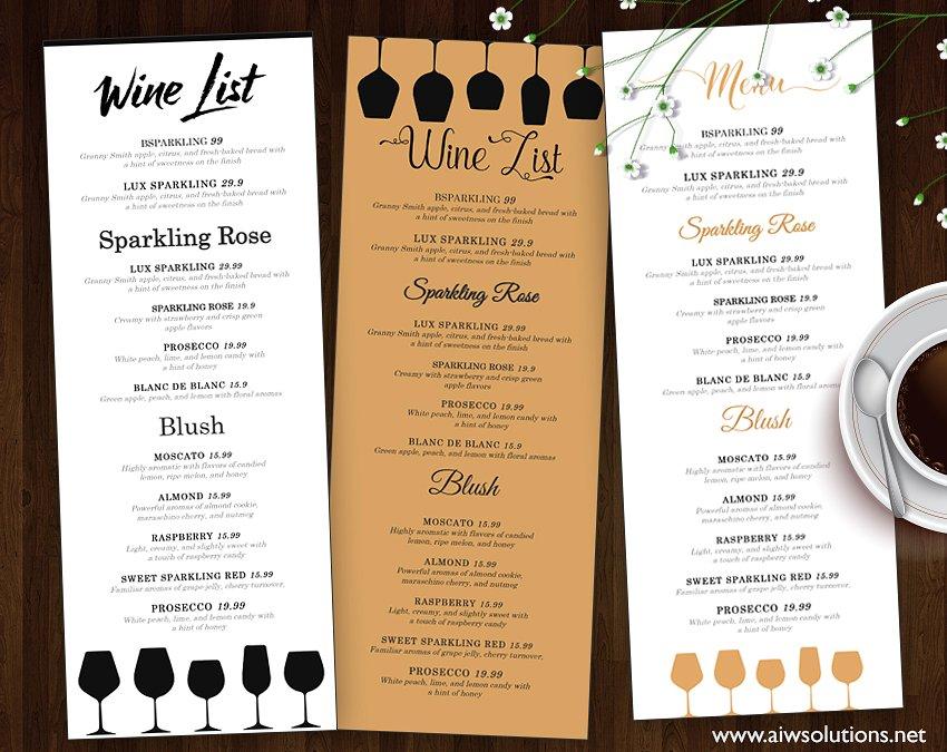wine list compilation wedding menu example