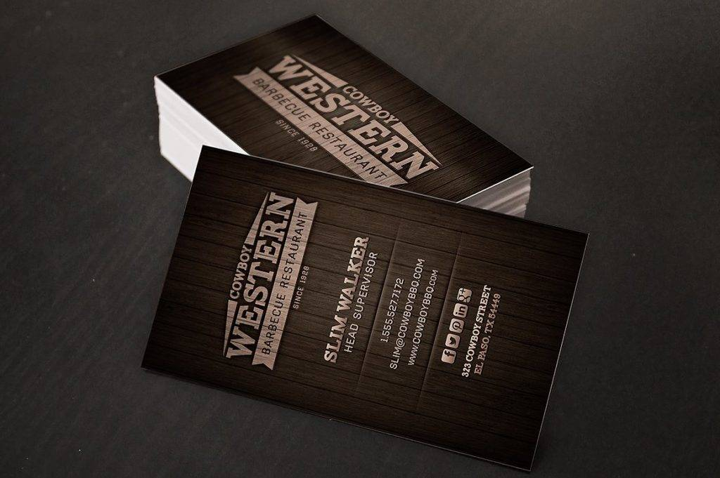 wood bbq business cards logo example
