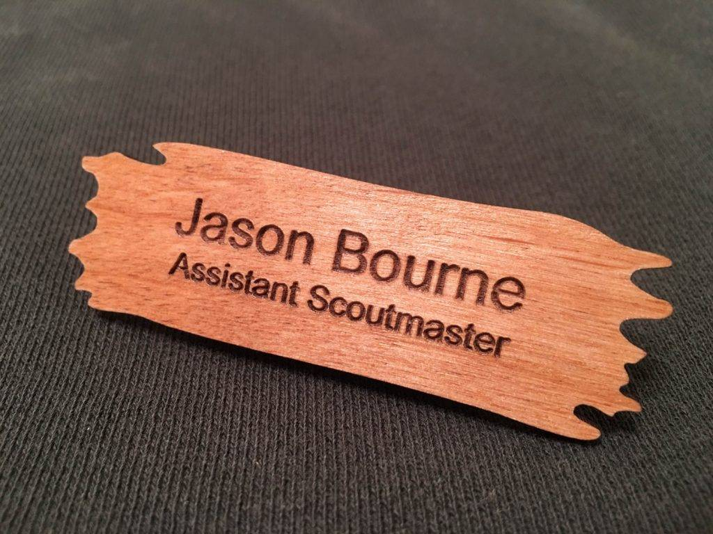 wood name badge design