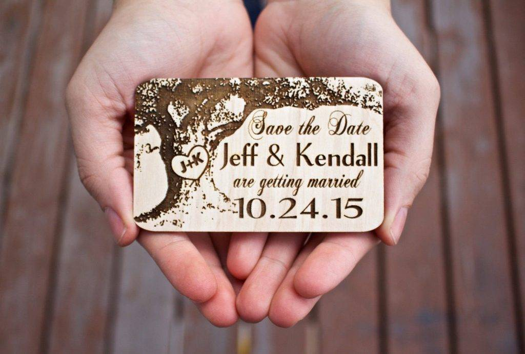 wood wedding save the date magnets example