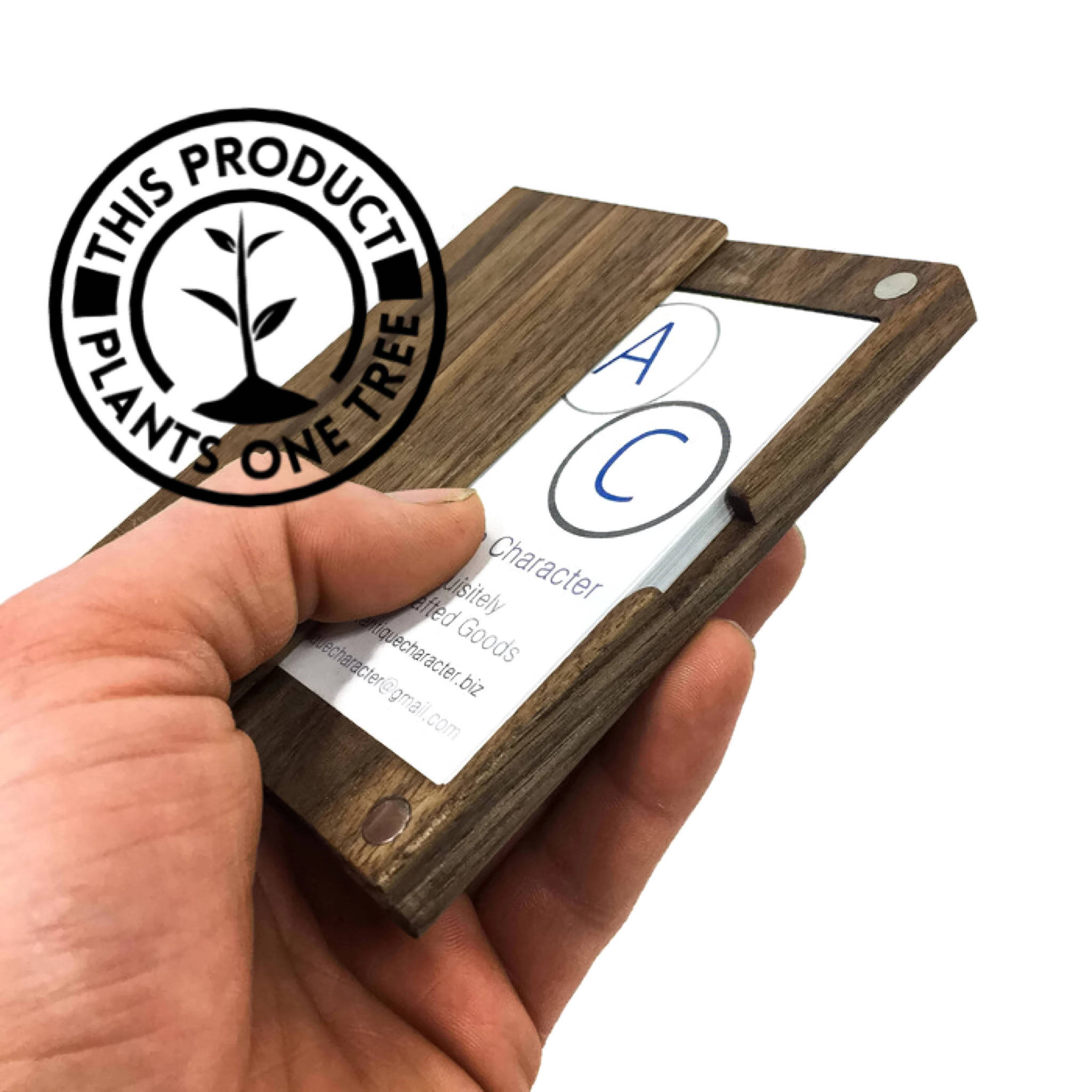 wooden business card holder example