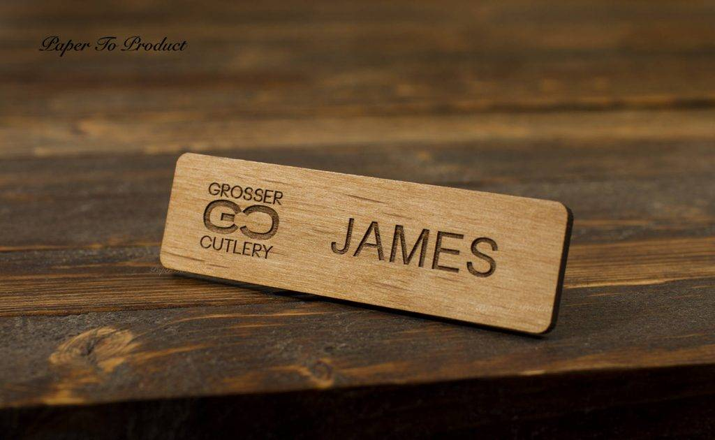 wooden laser cut name tag example