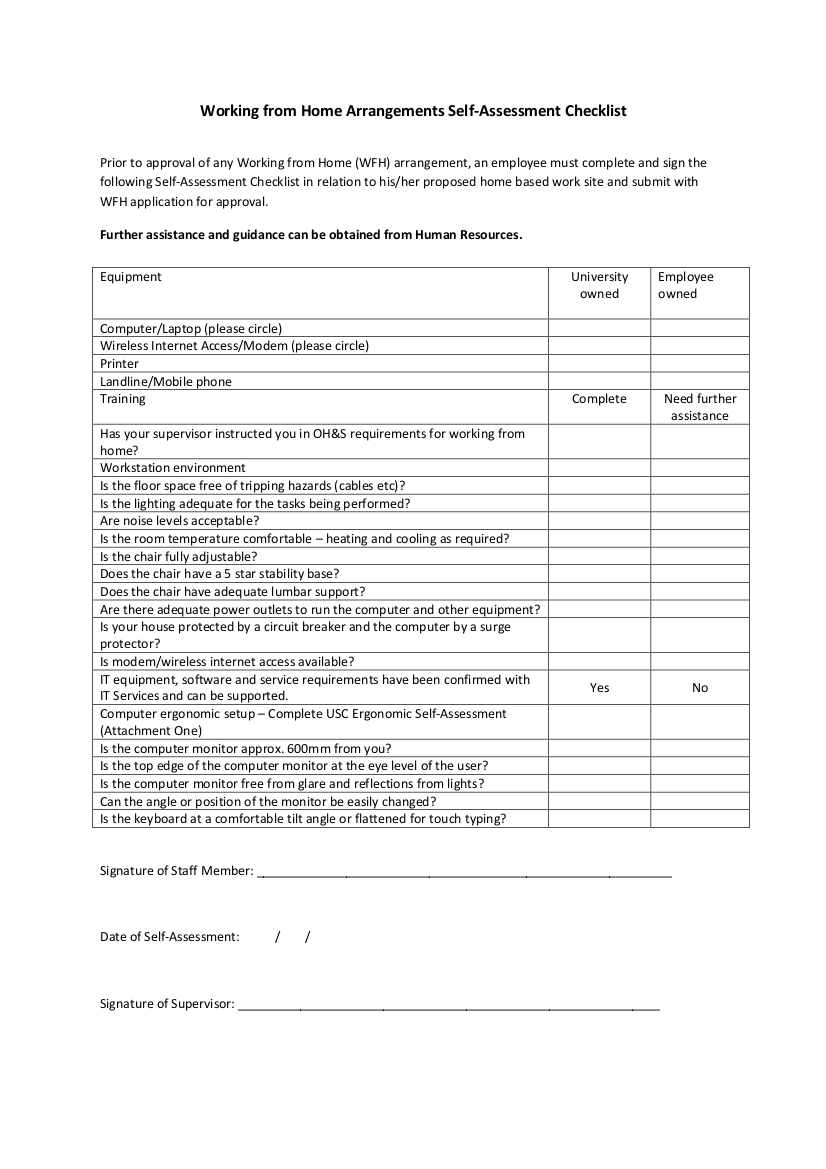 working from home arrangements self assessment checklist example