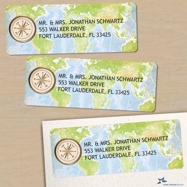 world map address label example