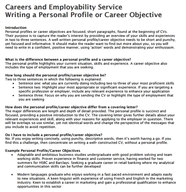 writing a personal profile summary