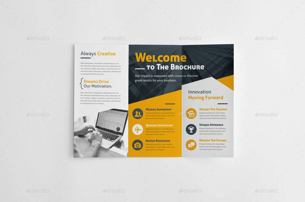 yellow workshop brochure example