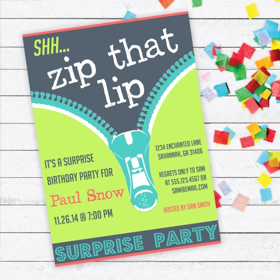 zip that lip surprise party invitation example
