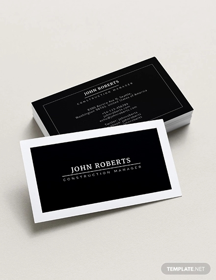 construction manager business card