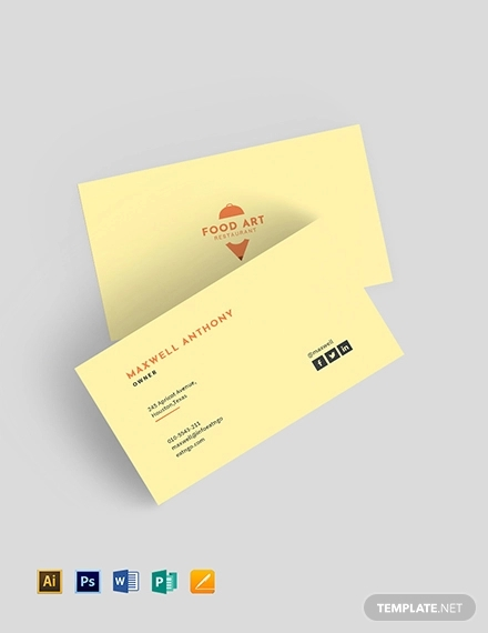 creative clean restaurant business card