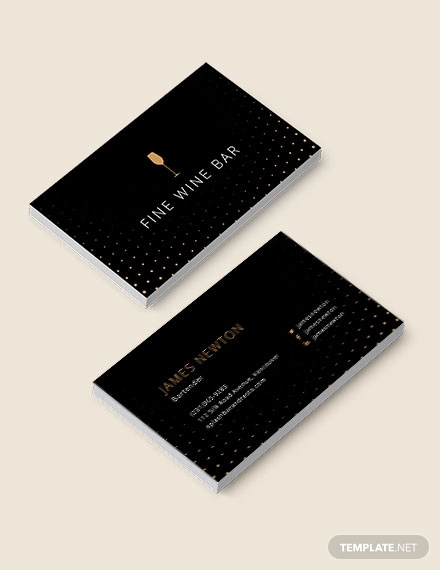 elegant bar tender business card