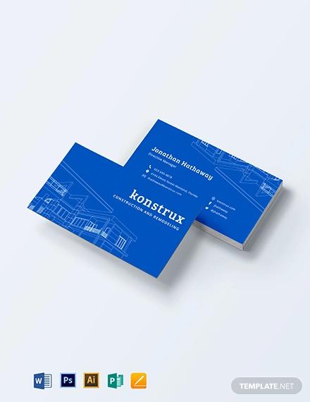 modern construction business card