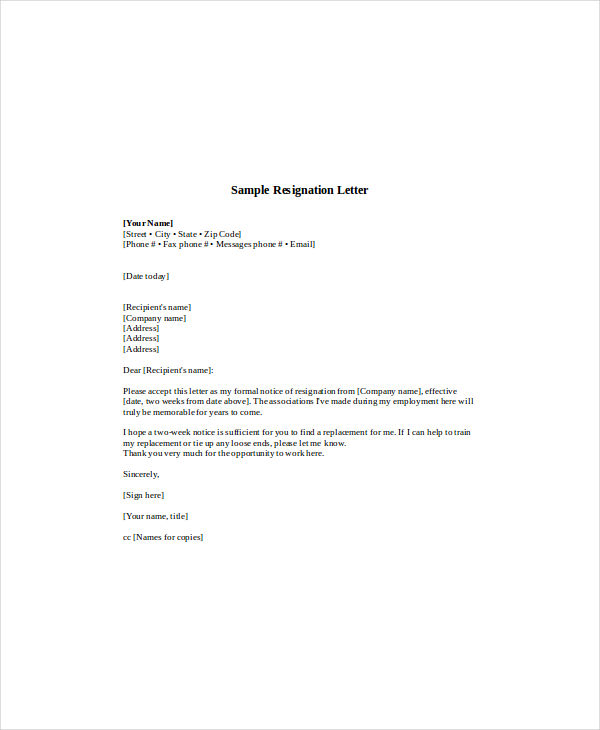 How To Word A Letter Of Resignation Uk