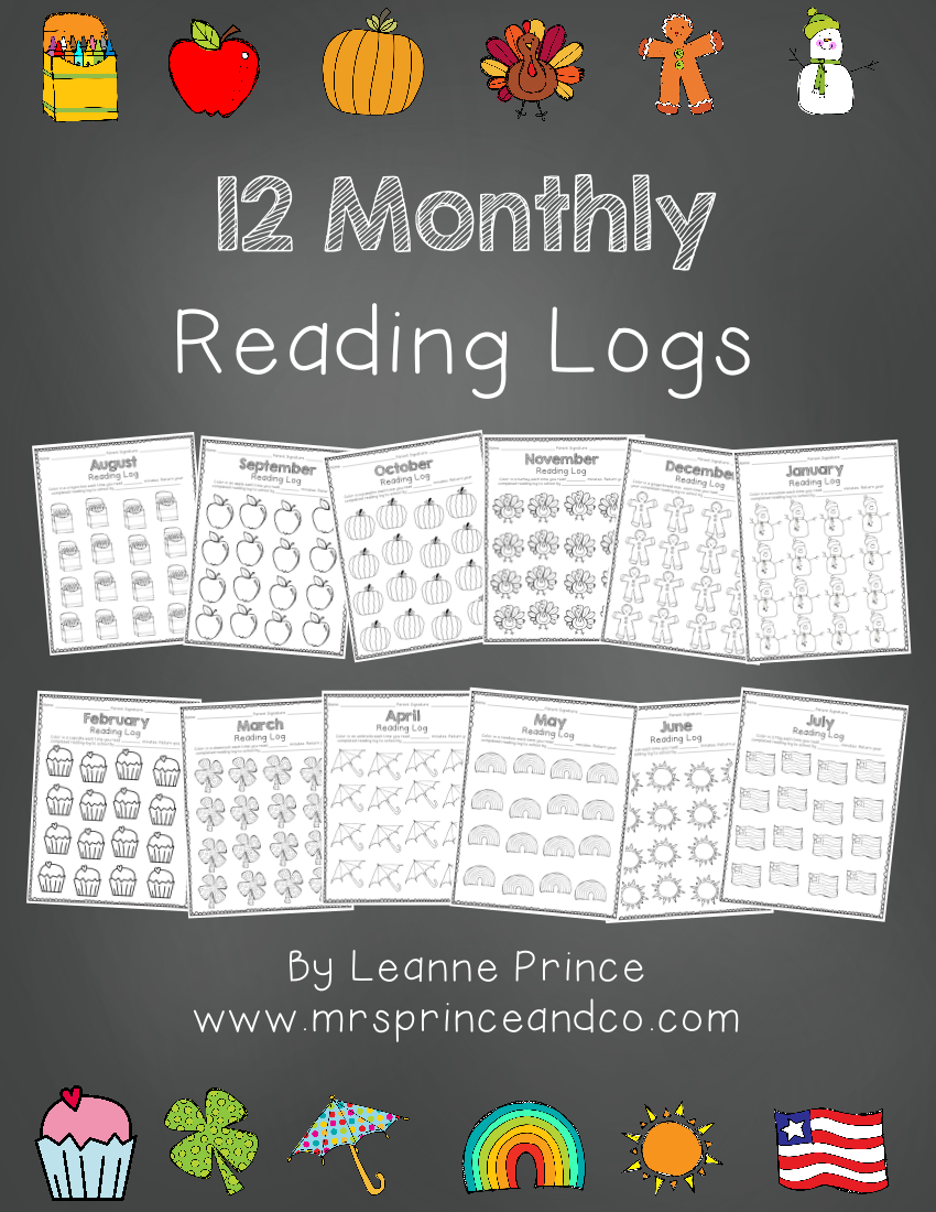 12 monthly reading log example