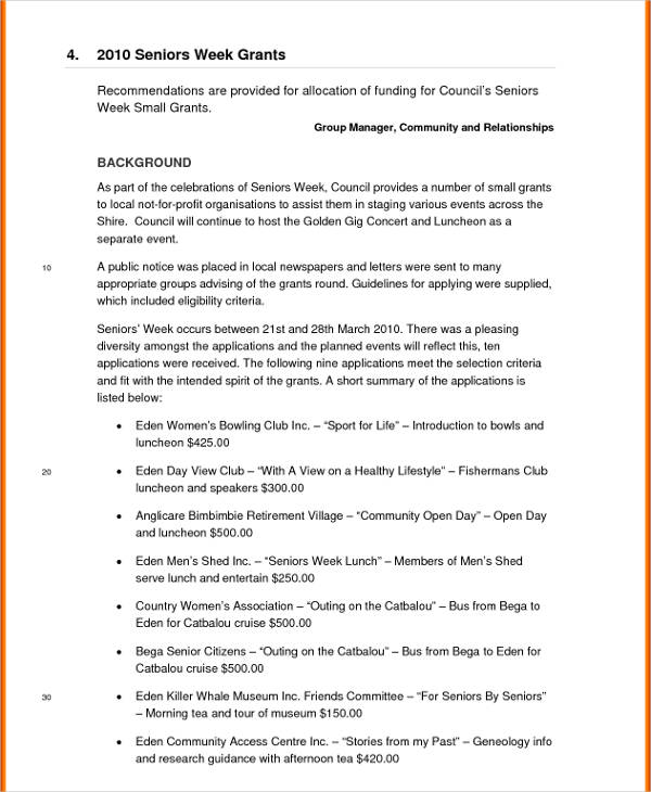 2010 seniors week grants business report