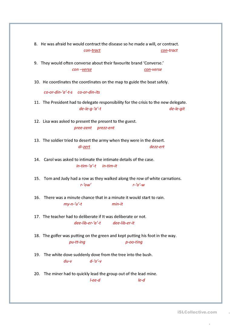 10 Examples Of Homographs With Worksheet Samples Pdf