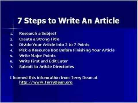 7 steps in writing an article