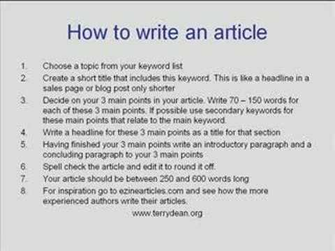 8 steps to write an article