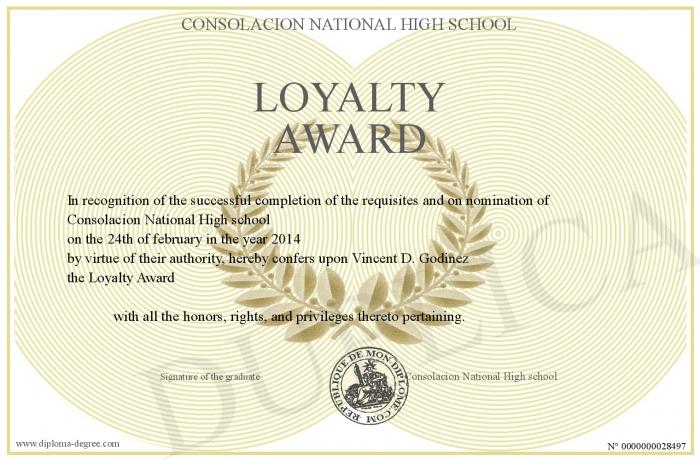 academic loyalty award certificate example