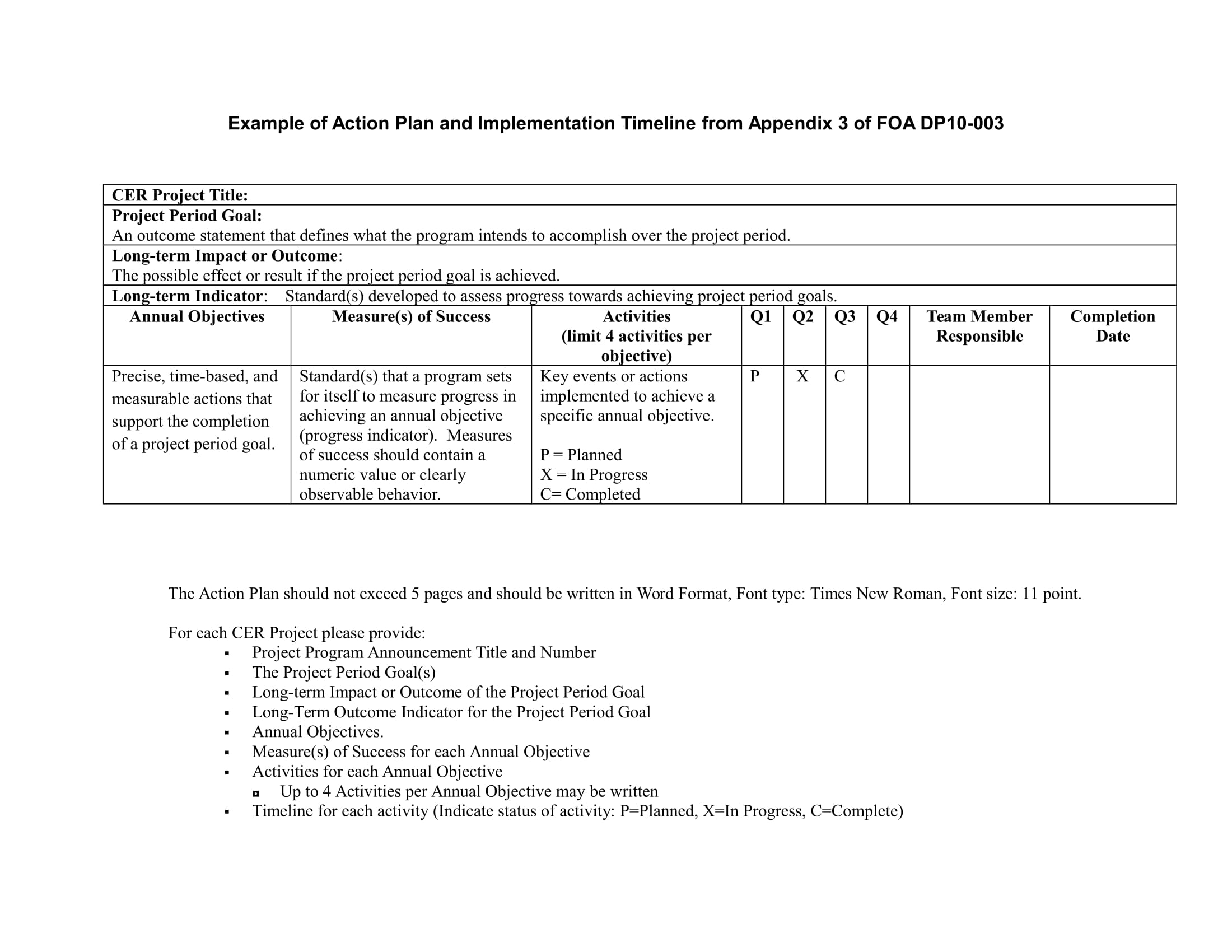 action plan and implementation timeline example 1