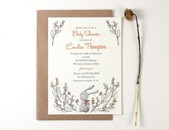 adorable illustrated baby shower save the date example