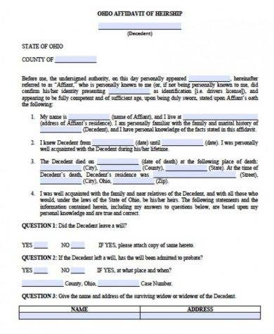affidavit of heirship for the state of ohio1