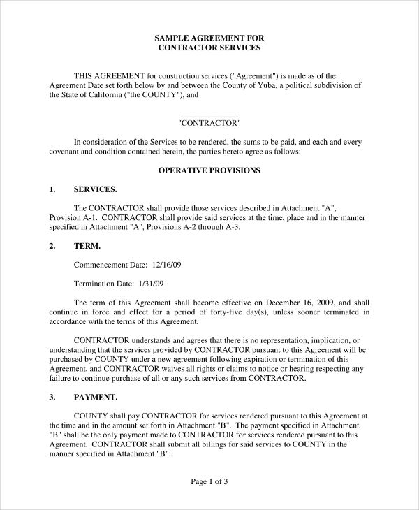 agreement for contractor services example
