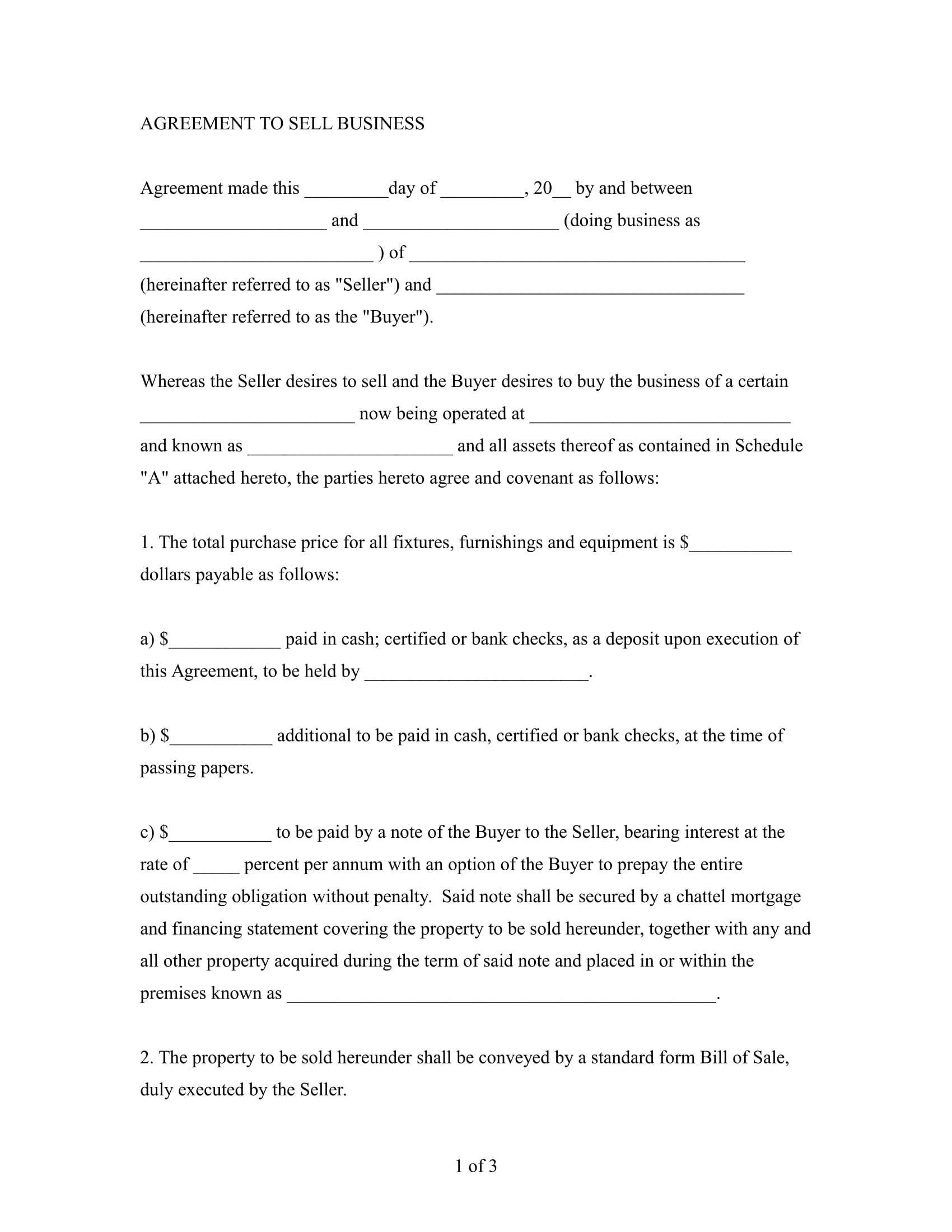 agreement to sell business example