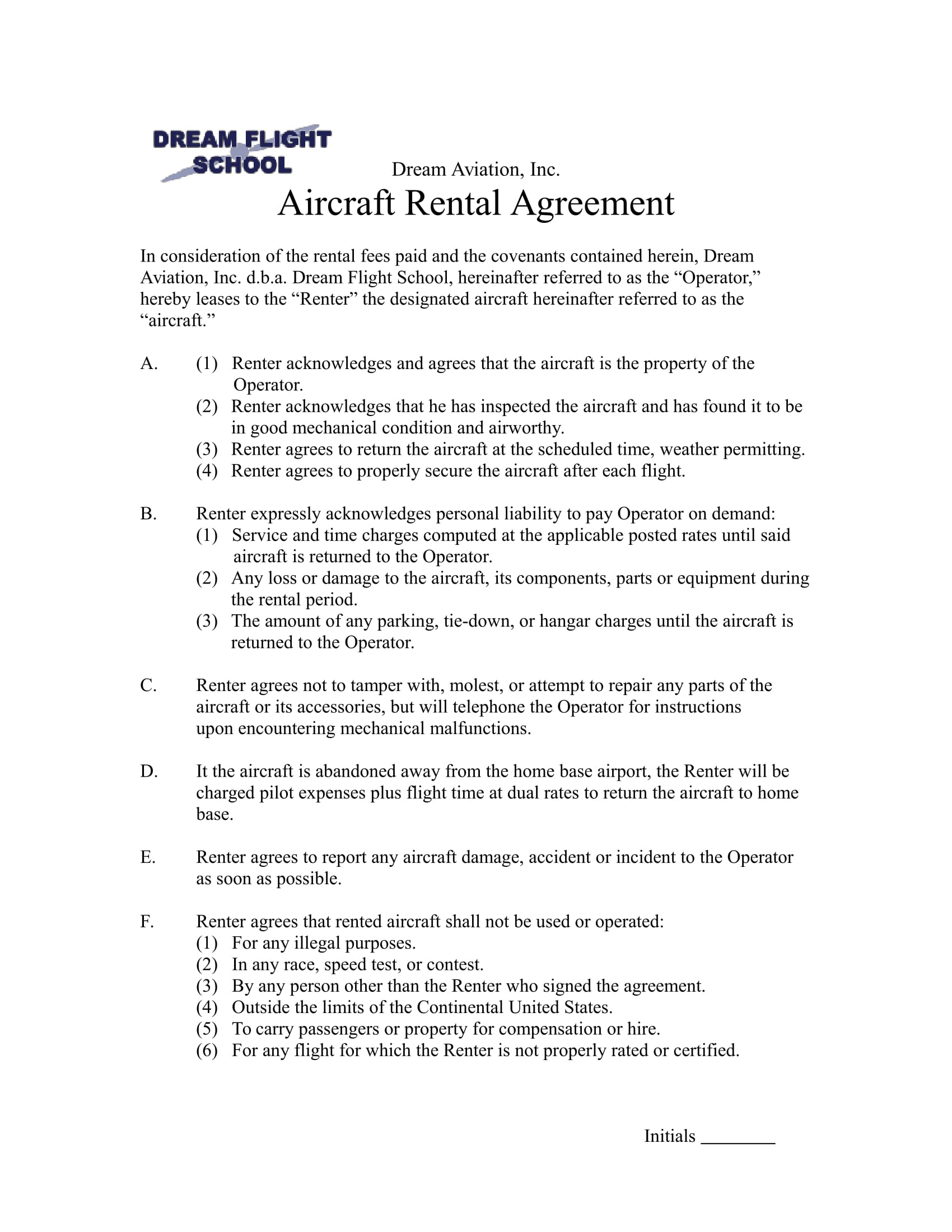 aircraft rental agreement example