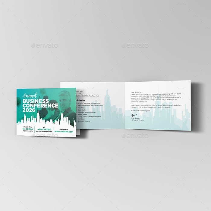 annual business event or conference announcement and invitation card example