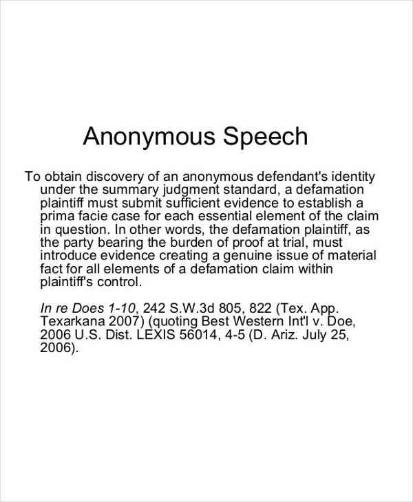 anonymous speech definition1
