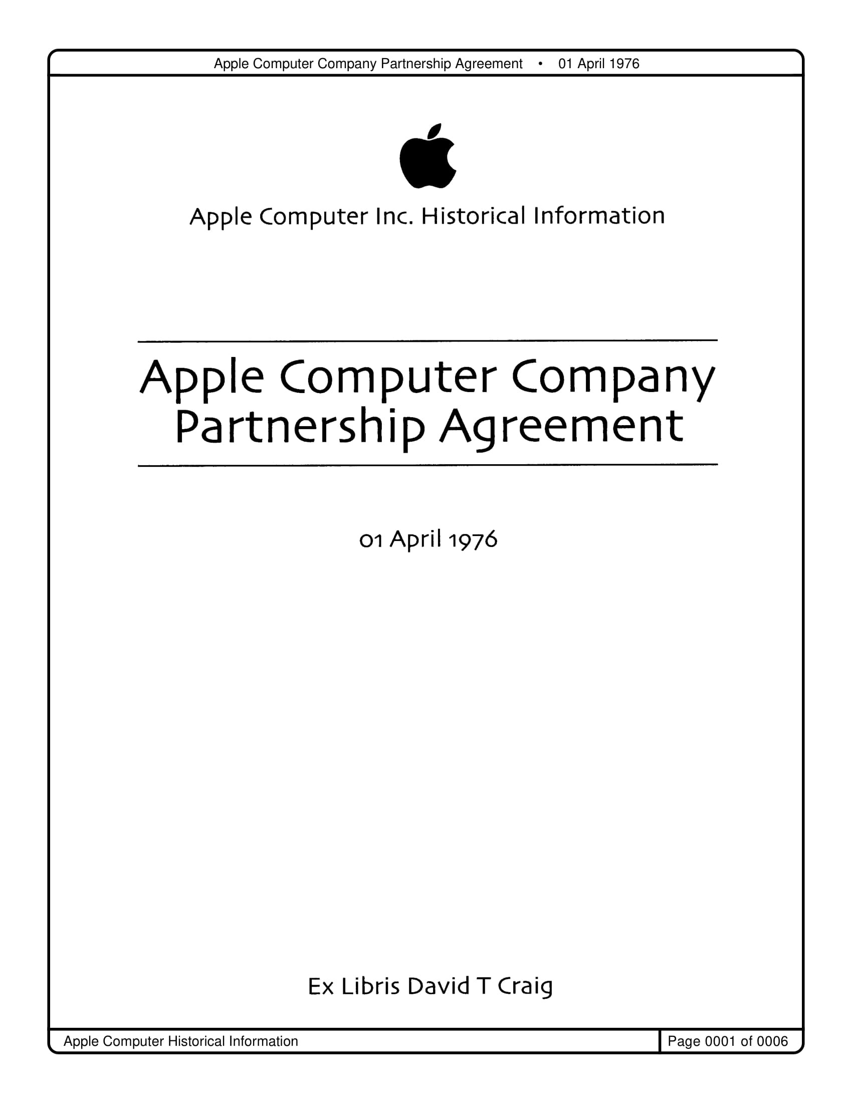 apple computer company partnership agreement example1