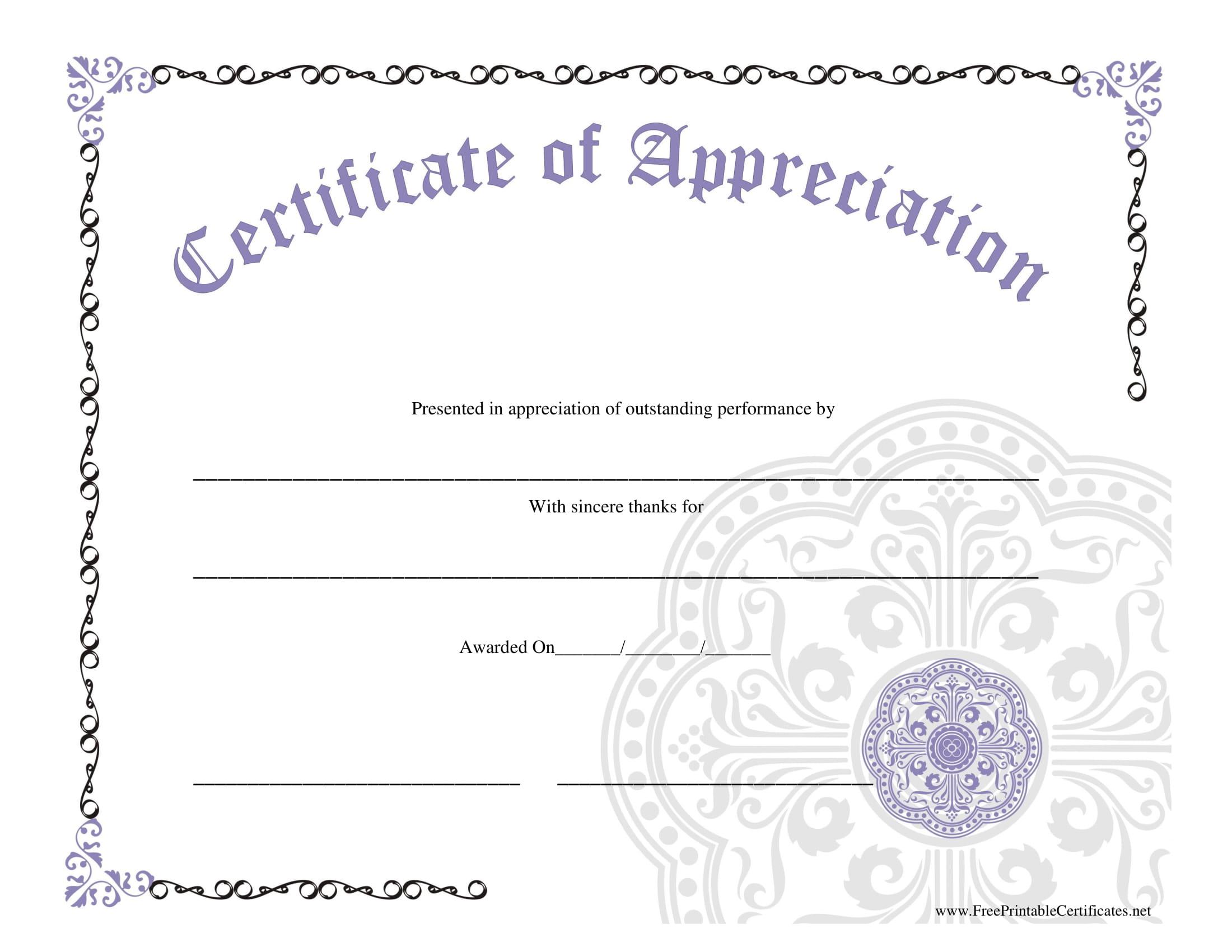 appreciation blank award cerificate example