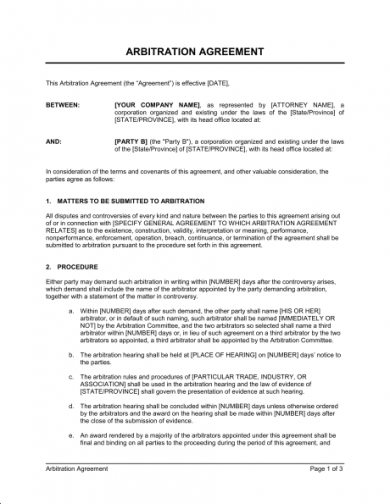 arbitration agreement document1