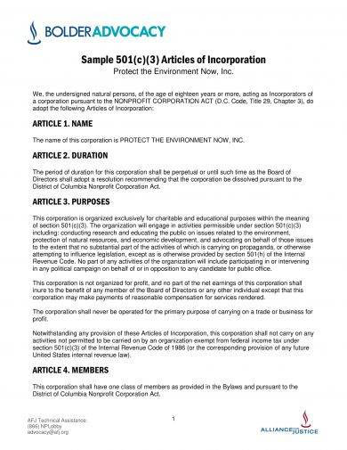 articles of incorporation format example