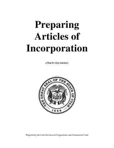 articles of incorporation process summary and exam1