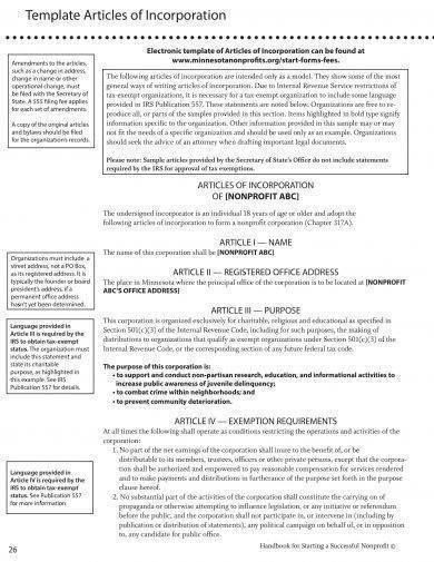 articles of incorporation template example