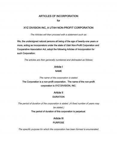 articles of incorporation for a non profit corporation example