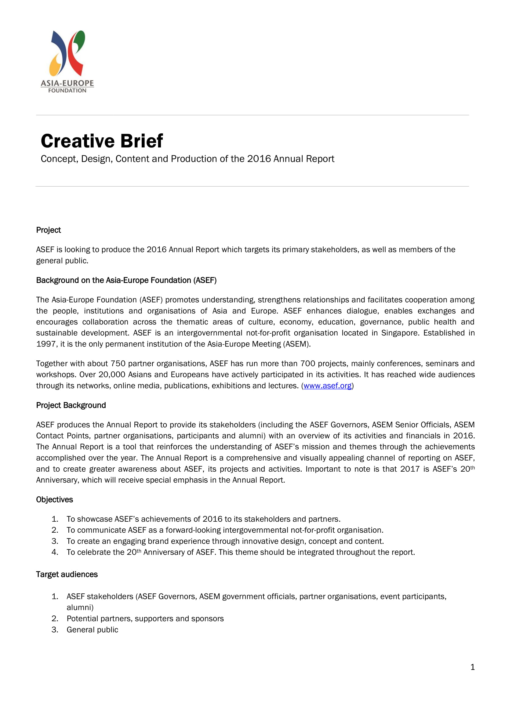 asia europe foundation asef creative brief example