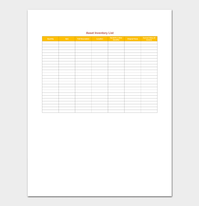 asset inventory list