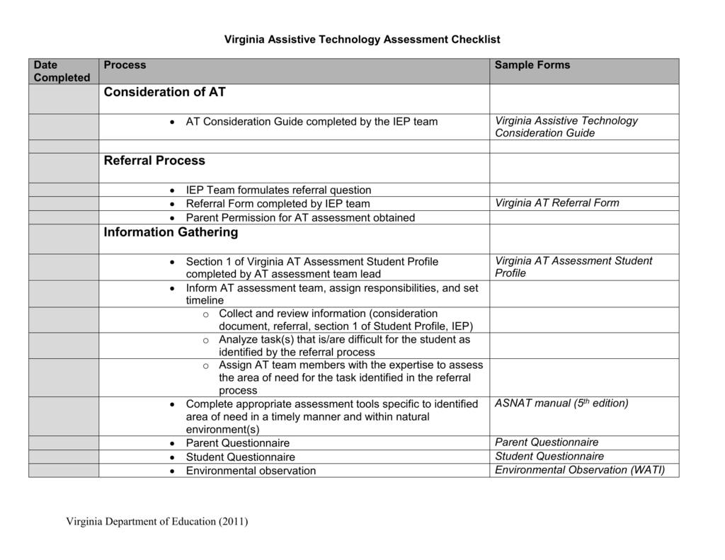 Application Assessment Checklist